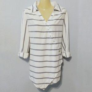 Soft Surroundings Tencel striped wrap tunic